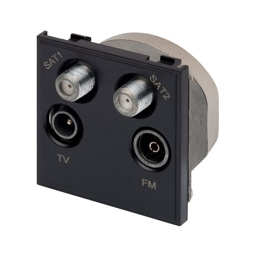 RT Quadplexed Outlet (50mmX50mm) Black 09047
